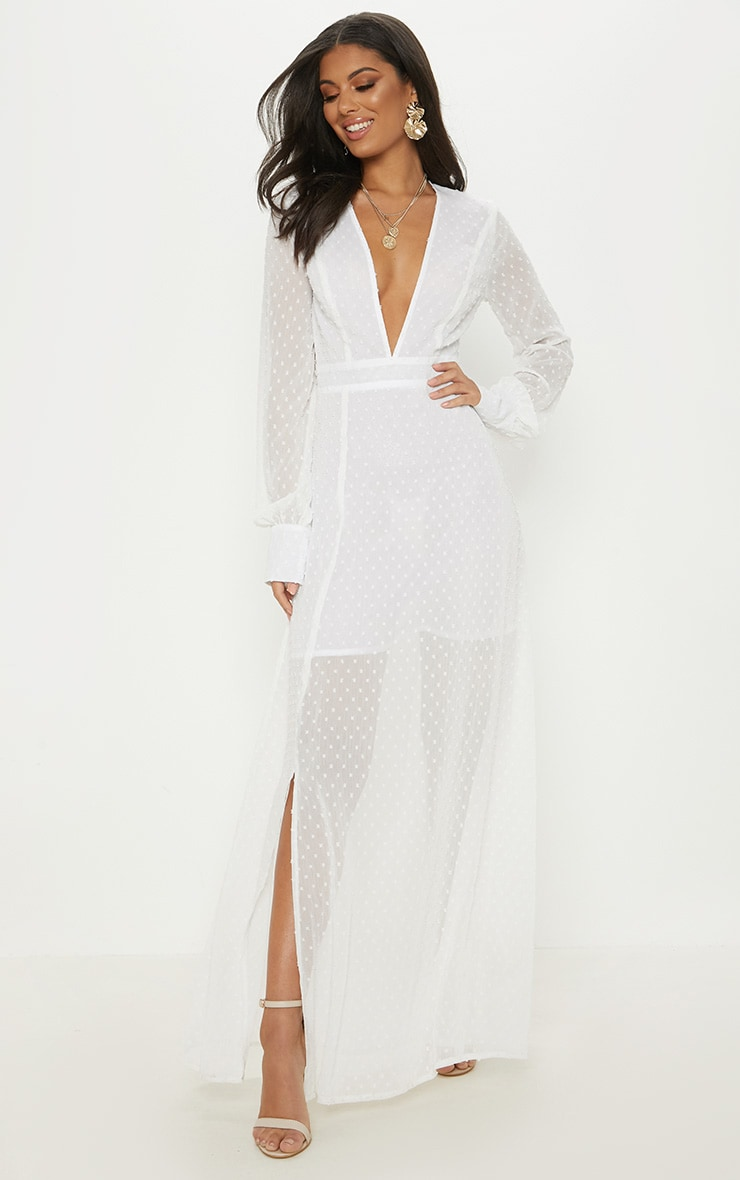 White Dobby Mesh Plunge Long Sleeve Maxi Dress