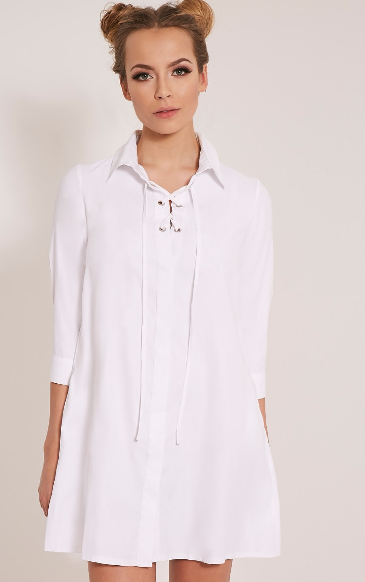 Perrie White Lace Up Soft Feel Shirt Dress 1