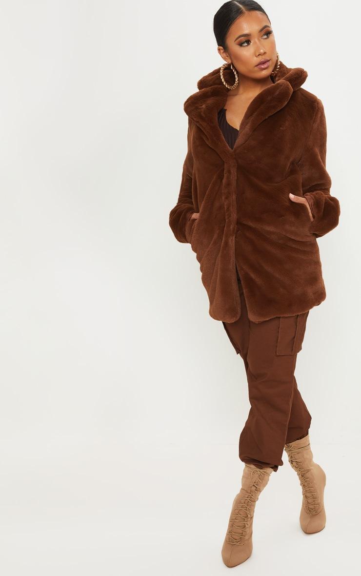 Petite Chocolate Brown Faux Fur Coat 4