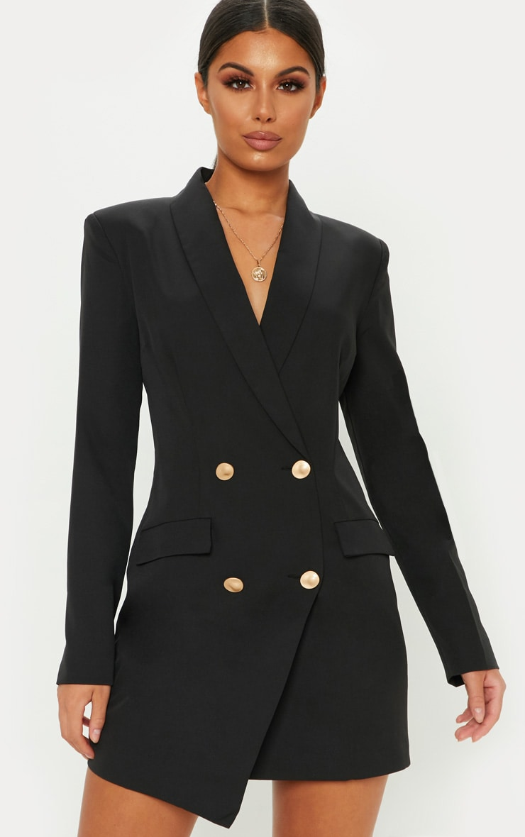 Black Gold Button Blazer Dress 1