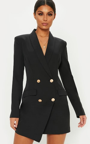 Robe Blazer Noire Robes Prettylittlething Fr