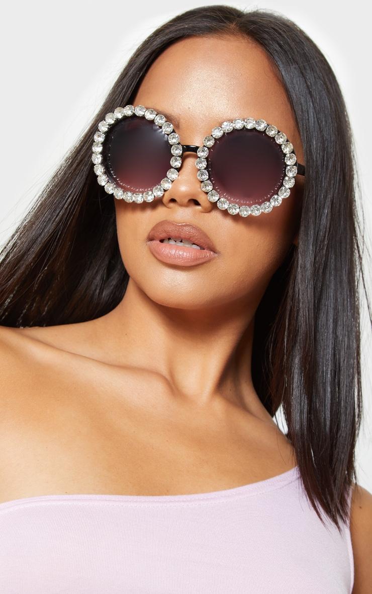 Black Round Crystal Border Sunglasses 1