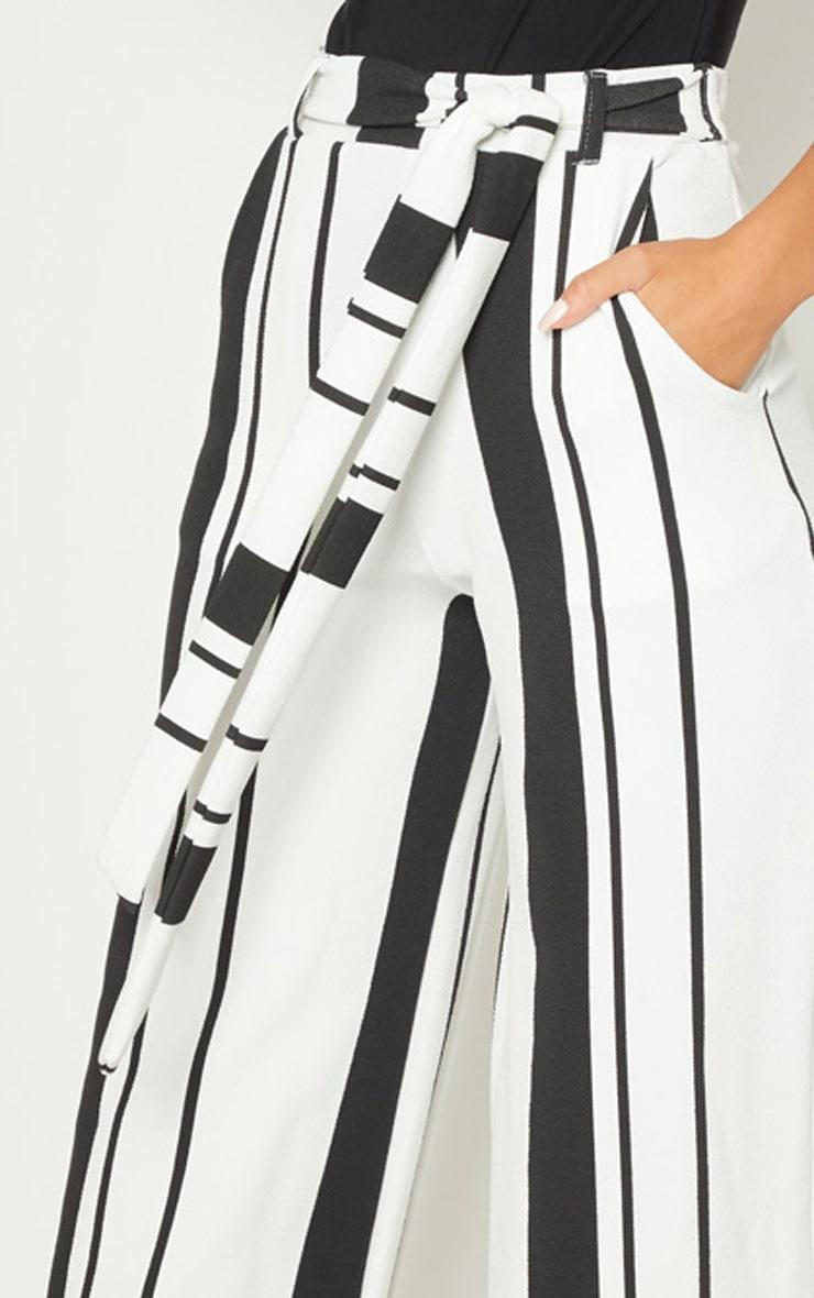 Black Crepe Stripe Tie Waist Wide Leg Trouser 4