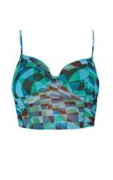 Green Abstract Checkerboard Print Mesh Overlock Seam Pointed Hem Cami 5