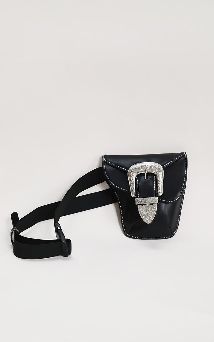 Black Ornate Buckle Waist Belt Bag 1