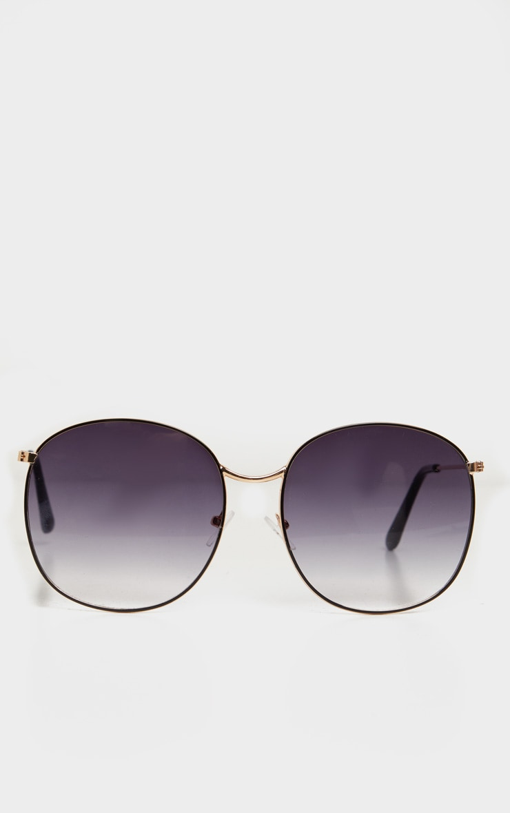 Black Smoke Round Oversized Sunglasses 2