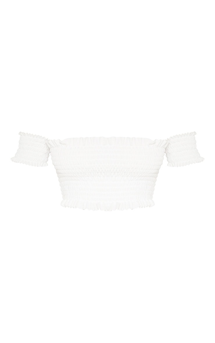 Tall White Shirred Bardot Crop Top 3