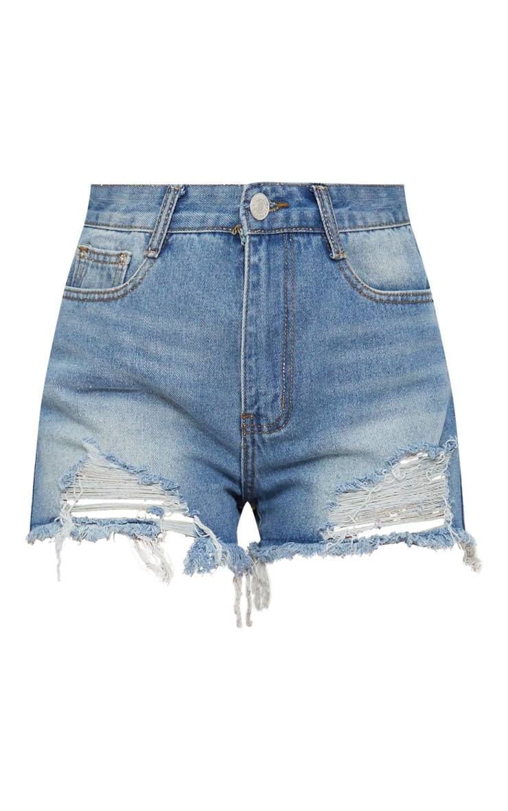 Blue Denim Ripped Short 3