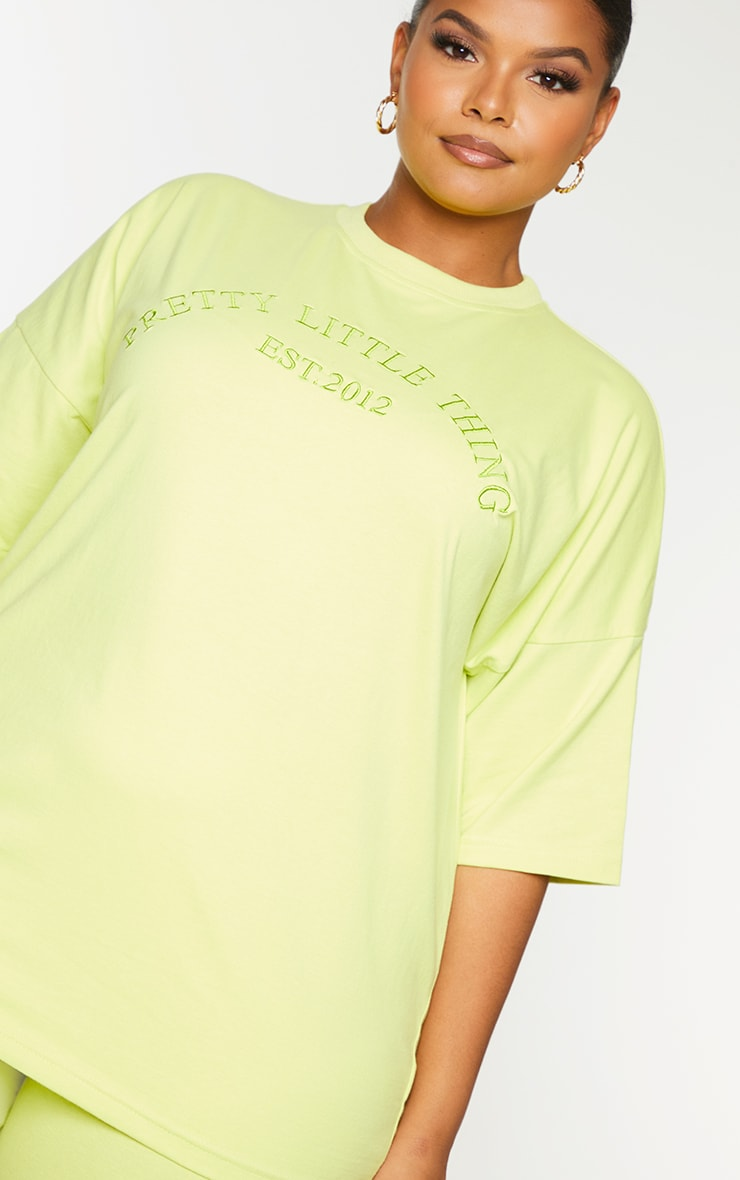 Plus Light Lime Embroidered Oversized Tshirt 4