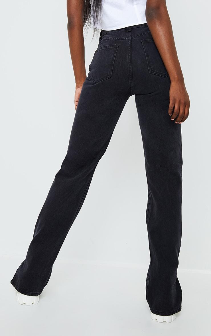 Tall Black Ripped Split Hem Jeans 3