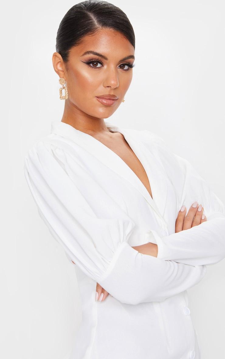 White Woven Puff Shoulder Button Down Blazer Dress 4