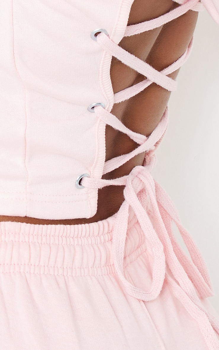 Pink Lace Up Back Crop Short Sleeve Hoodie 4