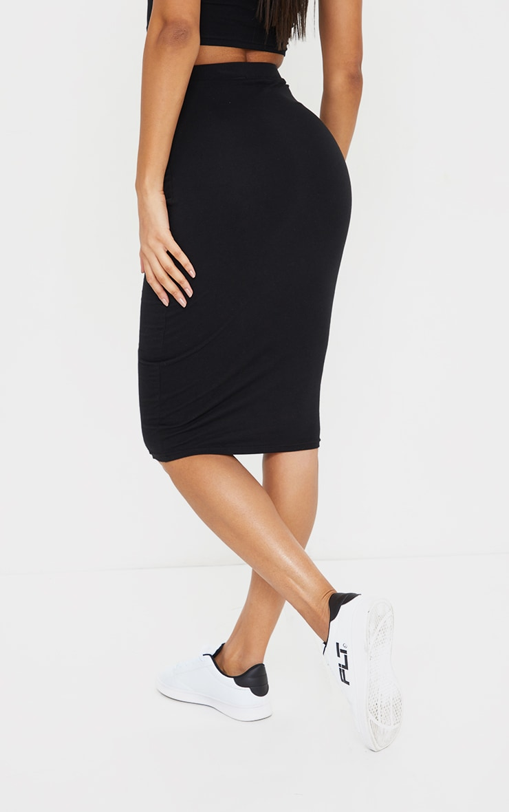 Black Essential Cotton Blend Jersey Midi Skirt 3