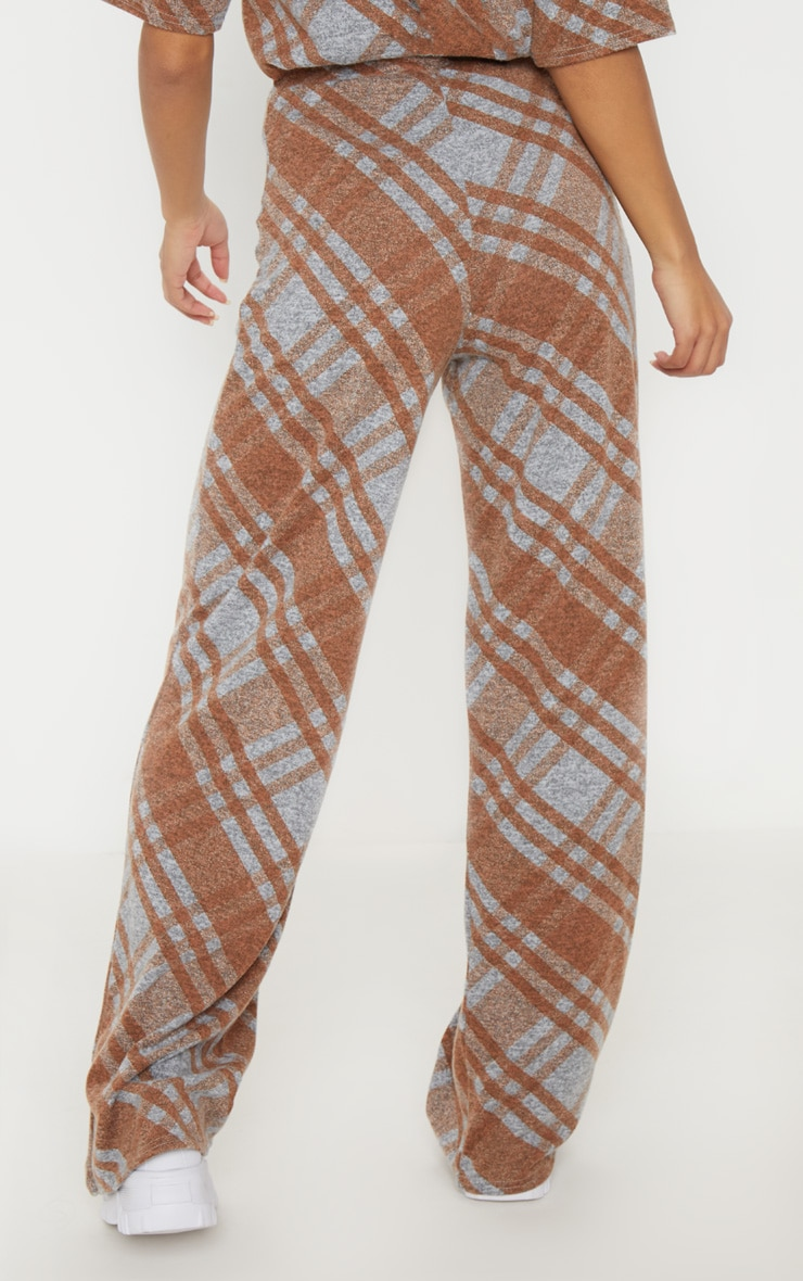 Grey Knitted Checked Flared Pants  4