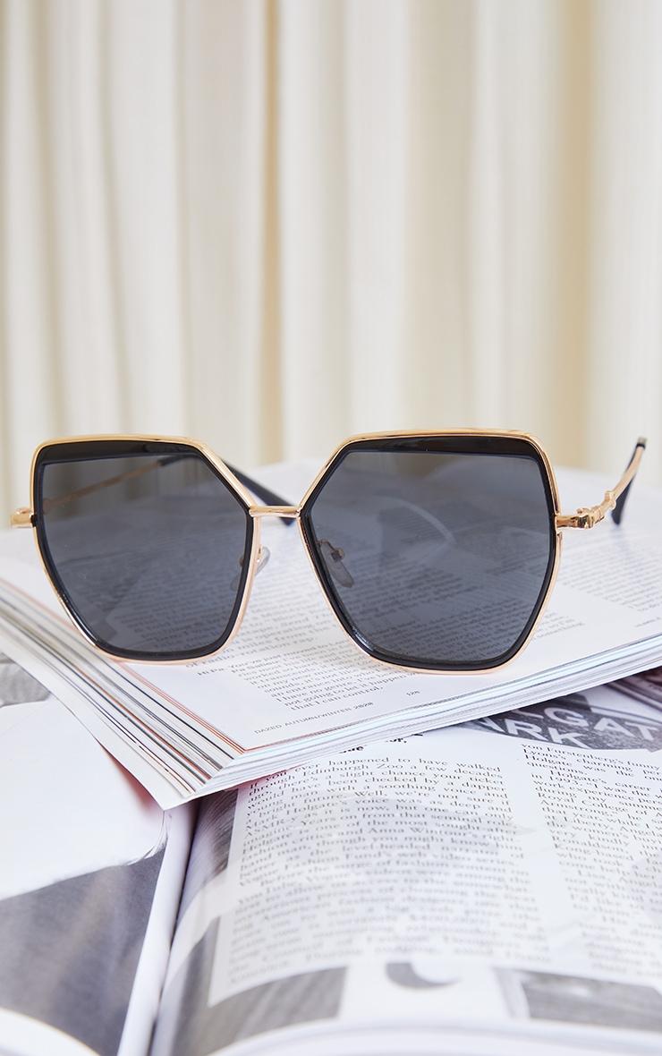 Black Double Frame Oversized Hex Sunglasses 2