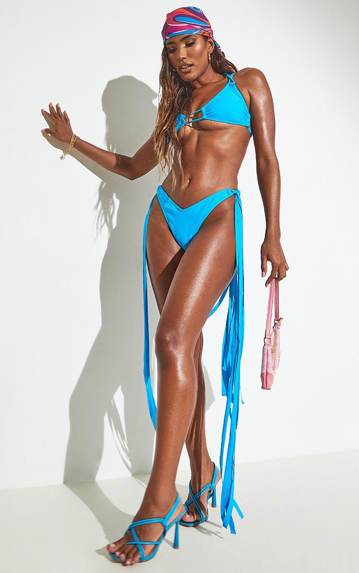 Blue High Leg Tassel Side Bikini Bottoms 4