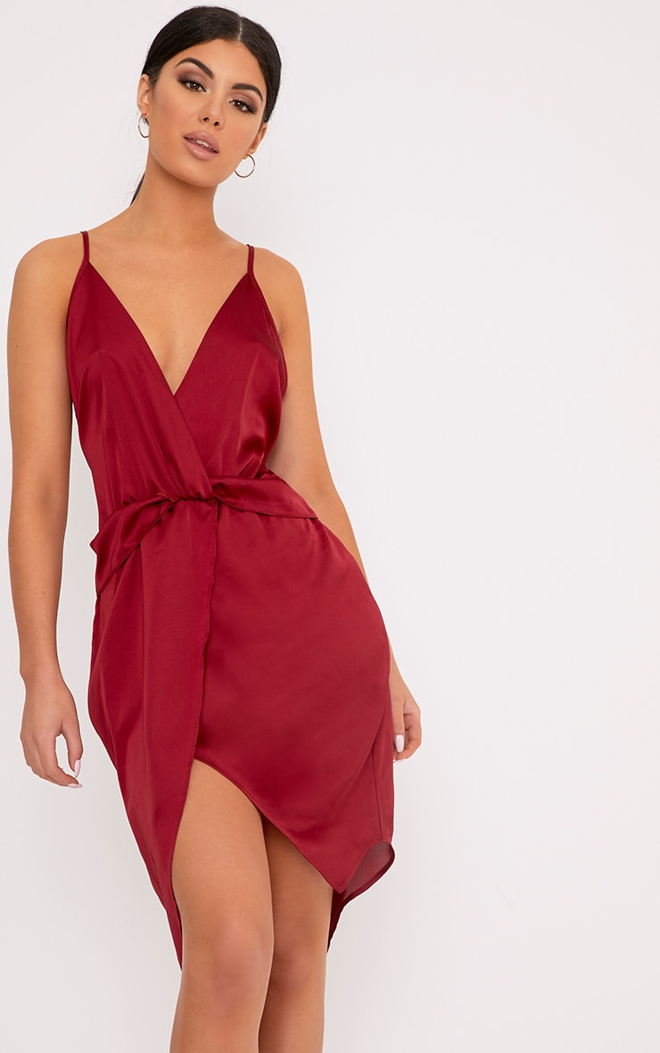 Kala Burgundy Satin Twist Front Midi Dress 1