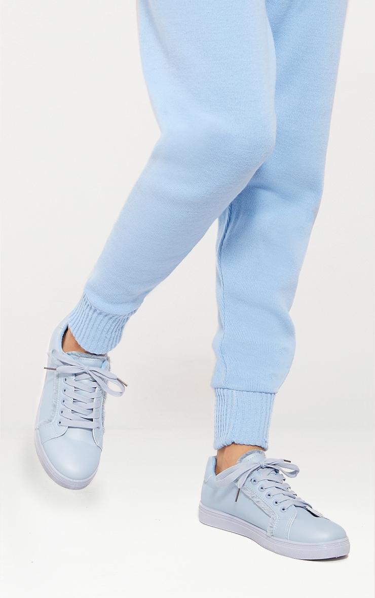 Dusty Blue Frayed Edge Lace Up Trainer 1