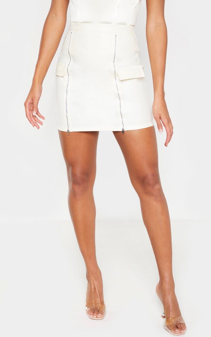 Cream Faux Leather Zip Split Detail Mini Skirt  2
