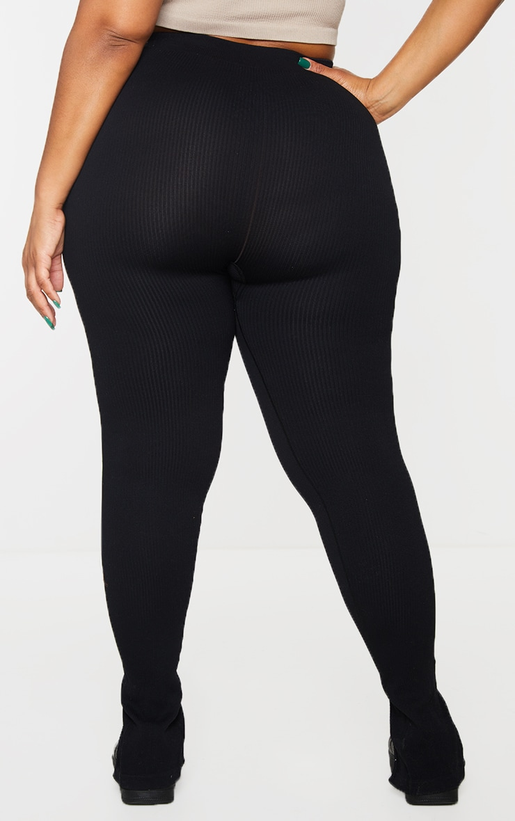 Plus Black Structured Contour Rib Split Hem Leggings 3