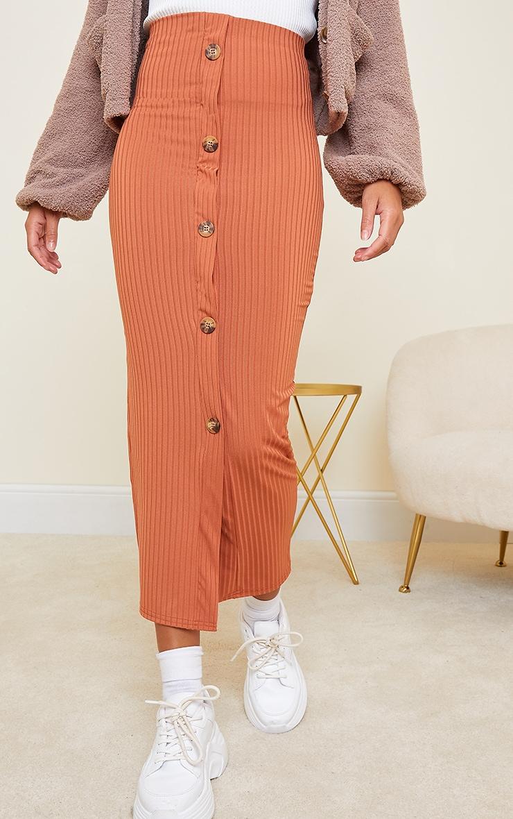 Rust Button Front Midaxi Skirt 2