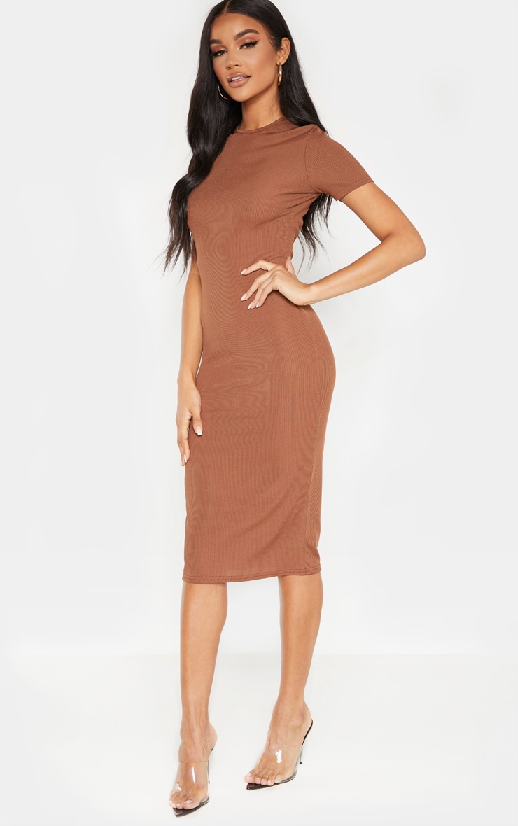 Chocolate Ribbed Crew Neck Midi Dress 4