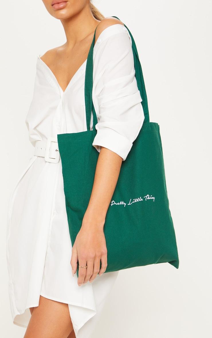 PRETTYLITTLETHING Bottle Green Tote Bag 1