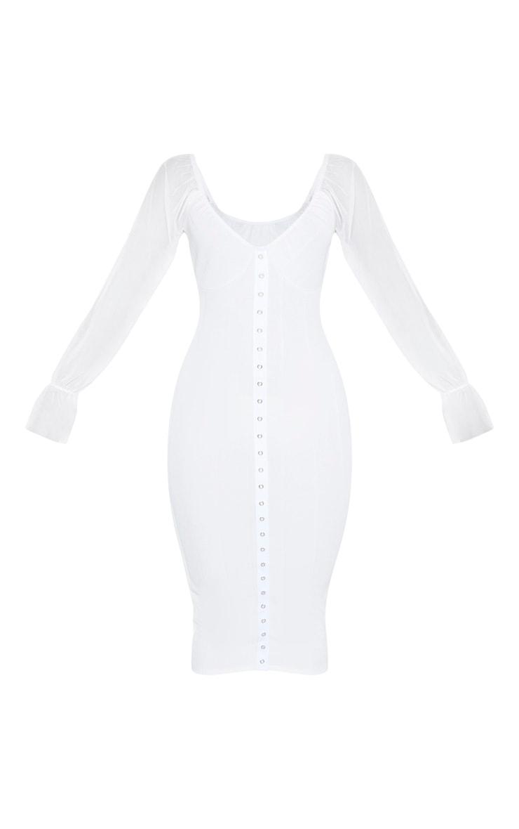 White Hook and Eye Mesh Sleeve Midi Dress 4