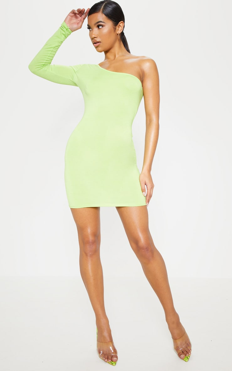 Neon Lime One Shoulder Long Sleeve Bodycon Dress  4