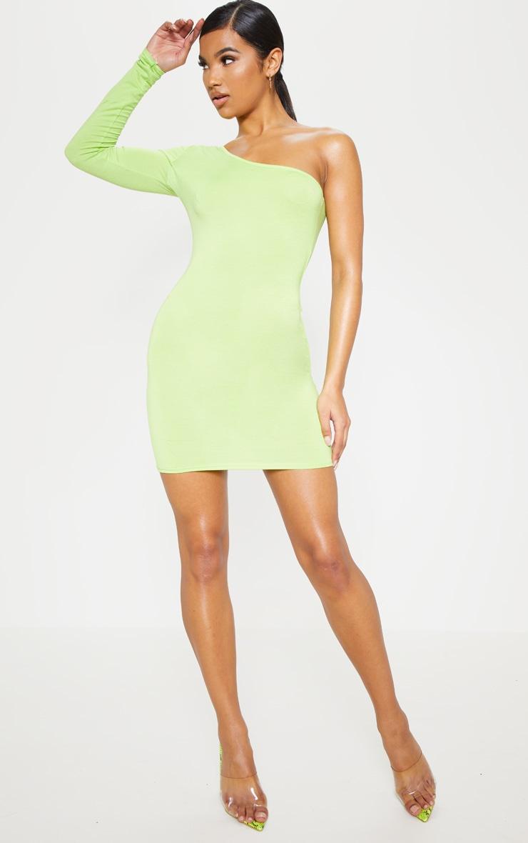 Robe moulante vert citron fluo à manche longue unique 4
