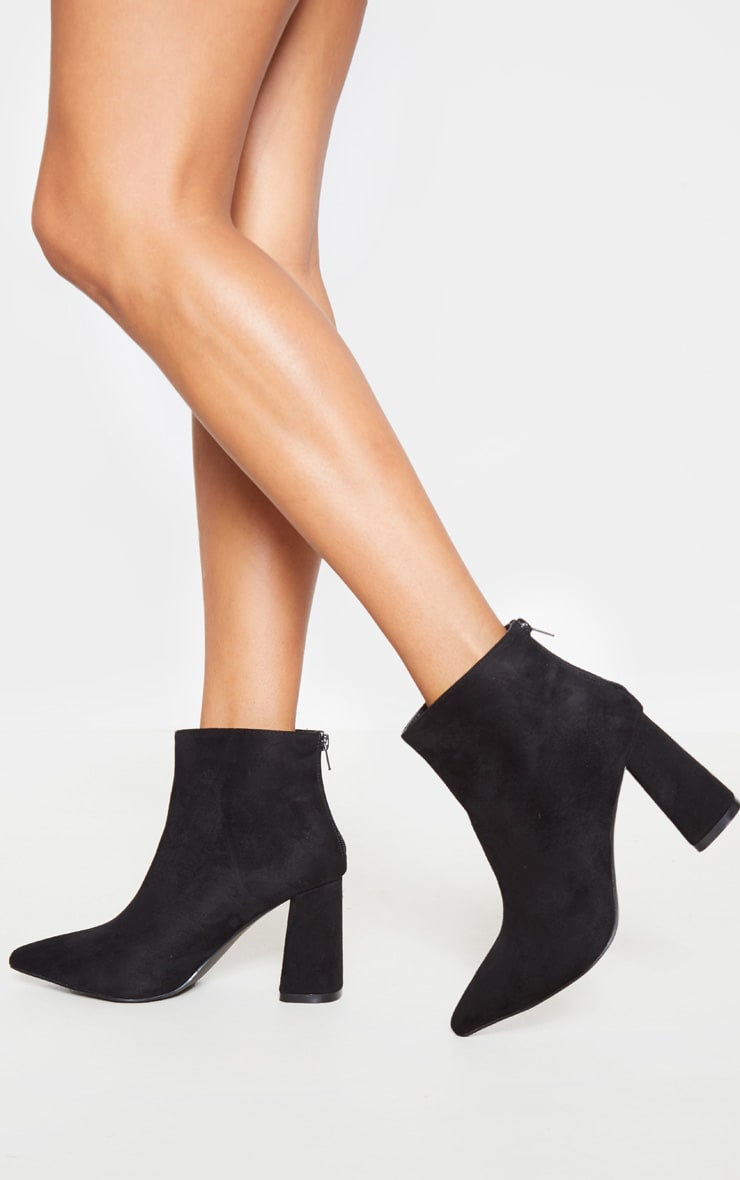 Black Wide Fit Zip Back Ankle Boot 2
