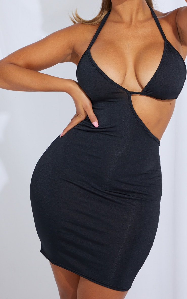 Shape Black Slinky Cut Out Tie Detail Bodycon Dress 4