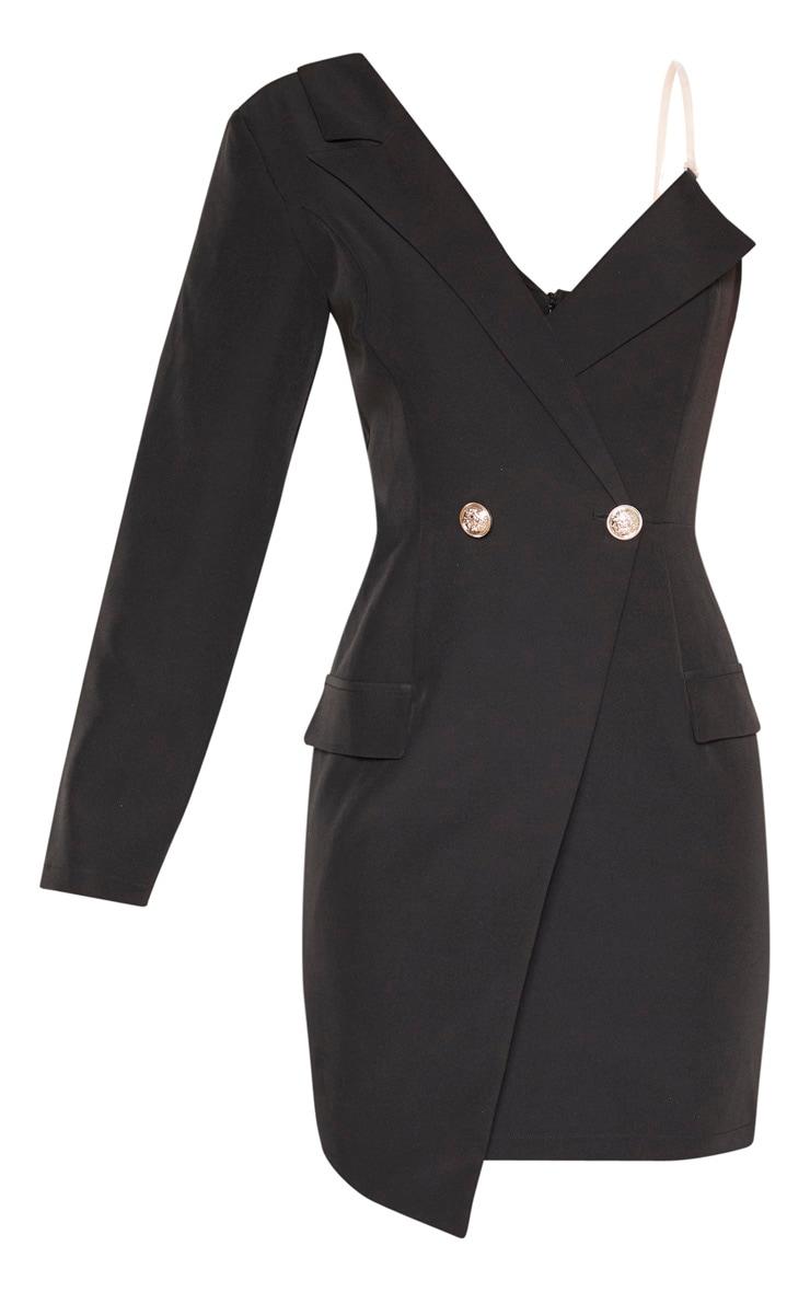 Robe blazer asymétrique noire à épaule unique 3