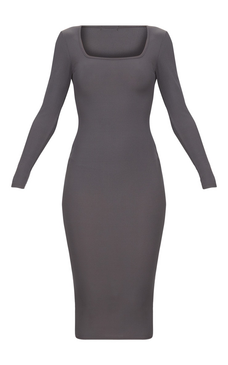 Charcoal Grey Ribbed Long Sleeve Midaxi Dress 3