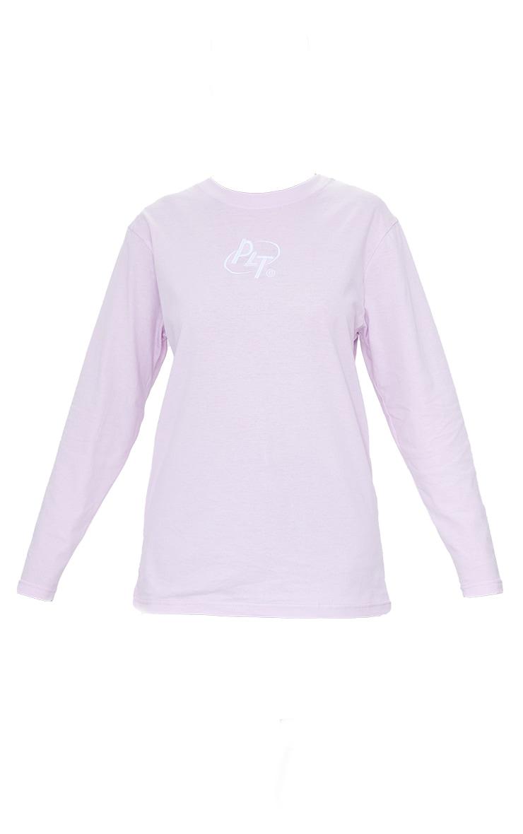 PRETTYLITTLETHING Pink Circle Logo Long Sleeve T Shirt 5