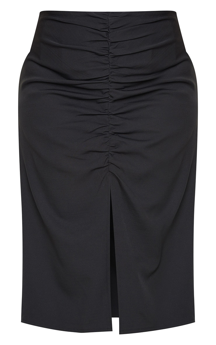 Plus Black Ruched Detail Split Skirt 6
