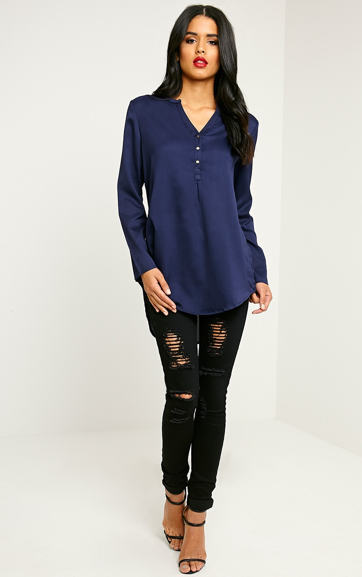 Caia Navy Oversized Shirt 1