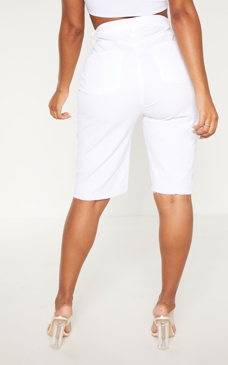 Shape White High Waisted Longline Denim Shorts 4
