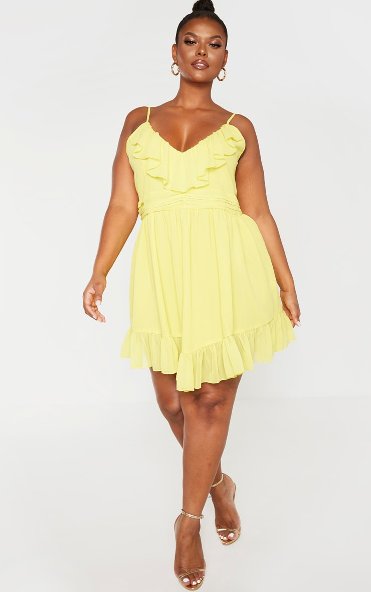 Plus Bright Yellow Strappy Frill Detail Skater Dress 4
