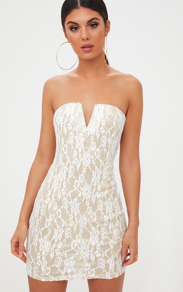 White Glitter Lace V Plunge Bandeau Bodycon Dress