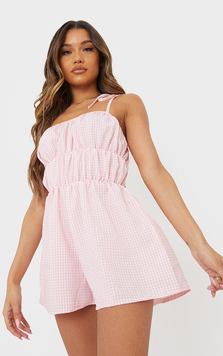 Pink Gingham Tie Strap Ruched Playsuit 1