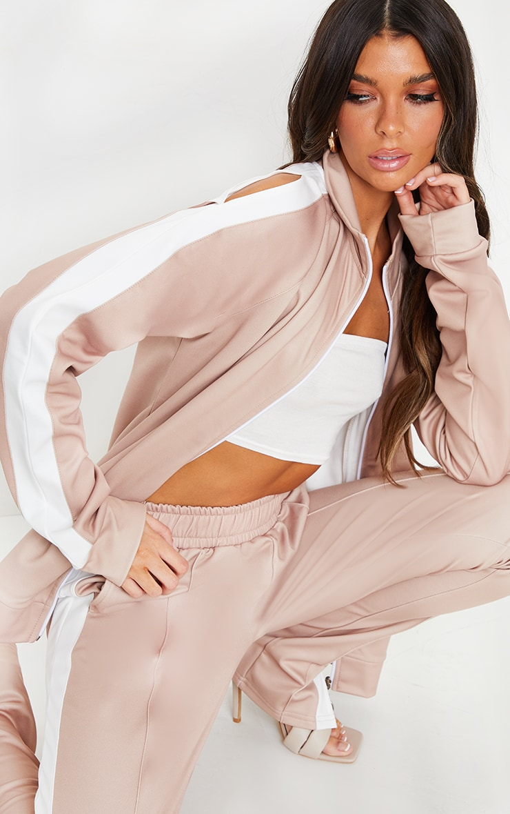 Taupe Cut Out Shoulder Detail Stripe Side Zip Through Sweat Top 4