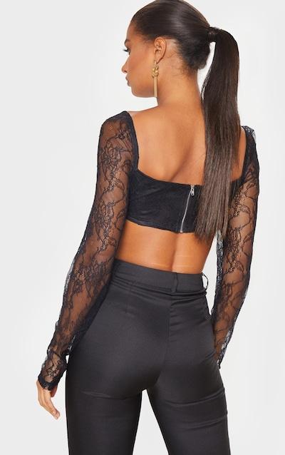 Black Lace Underbust Long Sleeve Crop Top