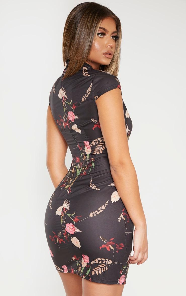 Black Floral Oriental Bodycon Dress 3