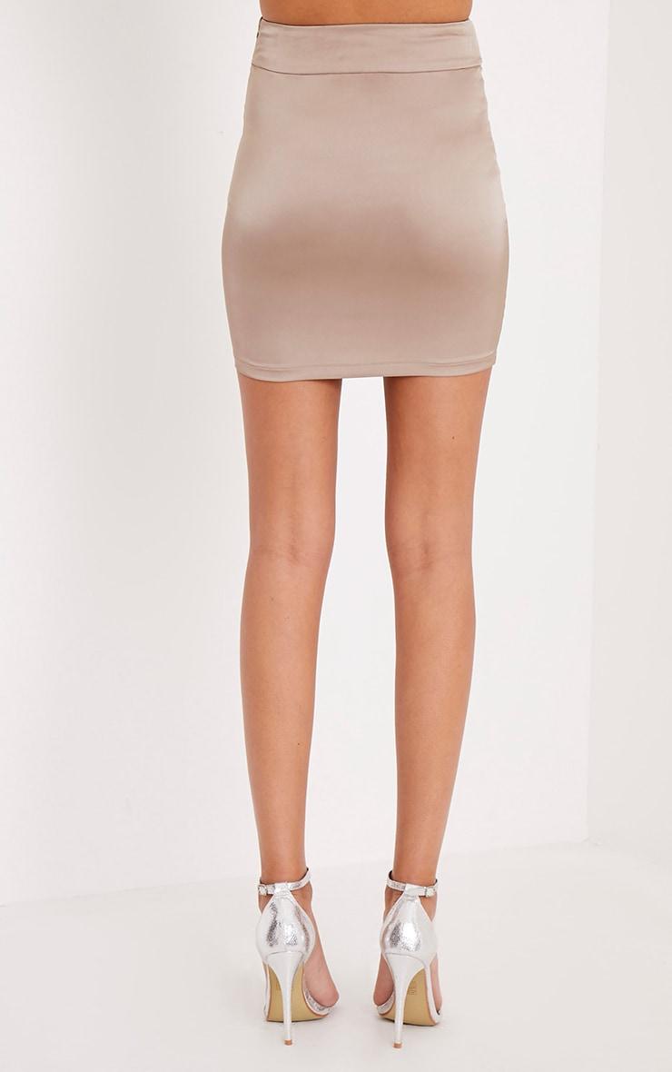 Helina Taupe Satin D Ring Mini Skirt 5
