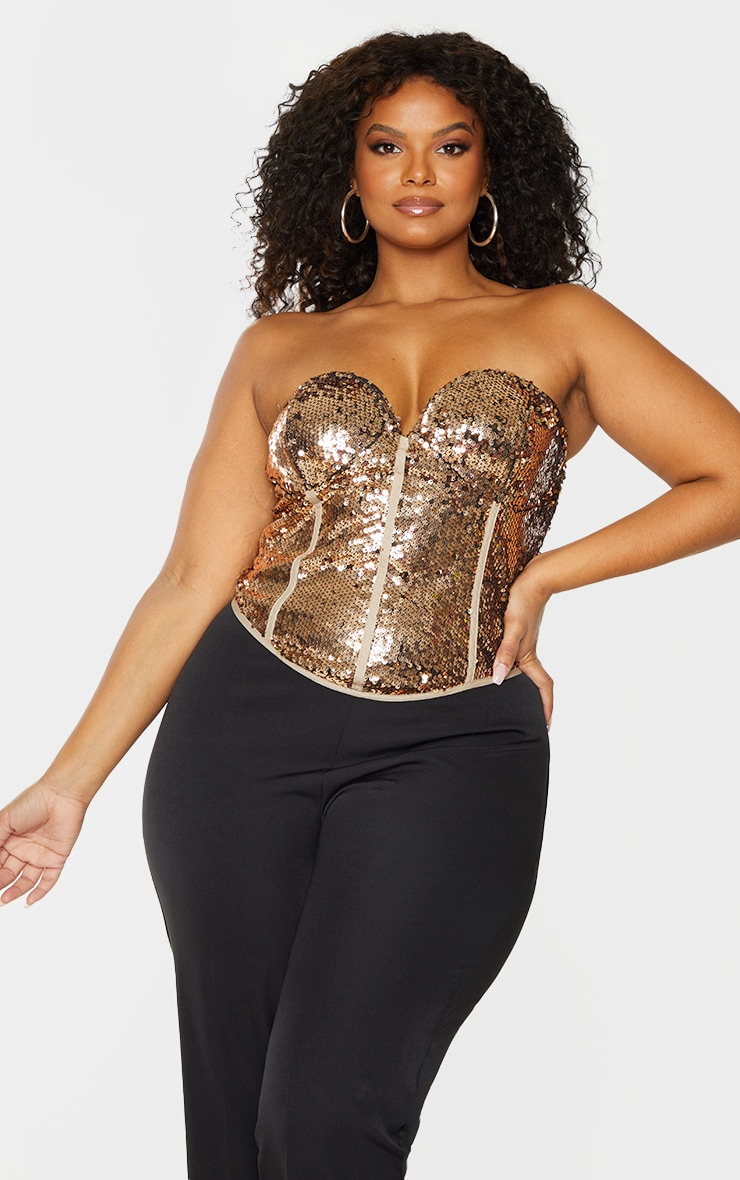Plus Bronze Sequin Corset Top 3