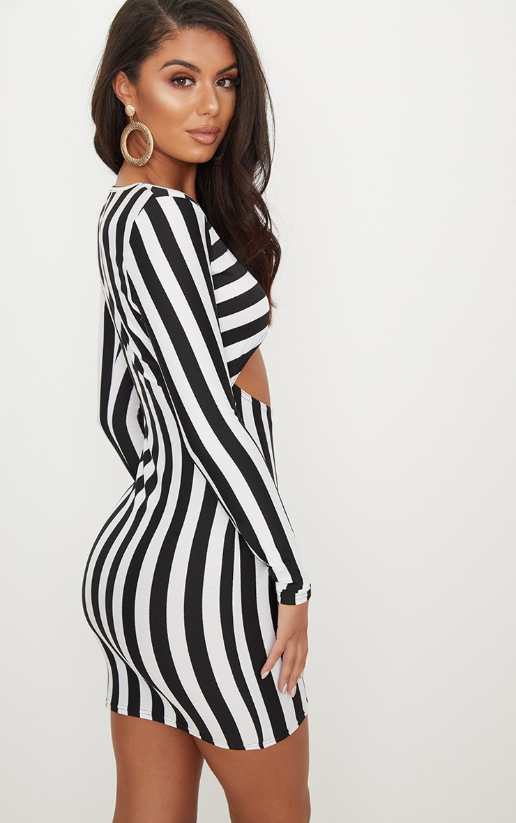 Monochrome Stripe Under Boob Long Sleeve Bodycon Dress 4