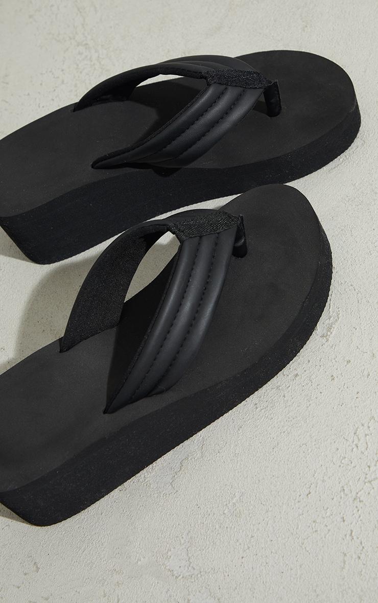 Black Toe Thong Mule Wedges Sandals 3