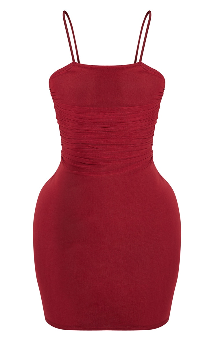 Shape Burgundy Strappy Ruched Mesh Bodycon Dress 3