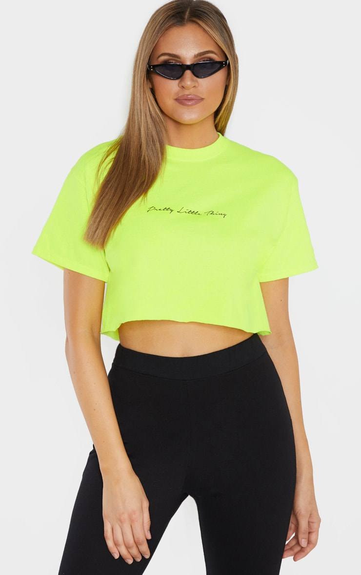 PRETTYLITTLETHING Tall Neon Lime Slogan Cropped T-Shirt 1